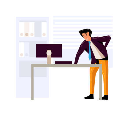 Tired businessman suffering from back pain in office