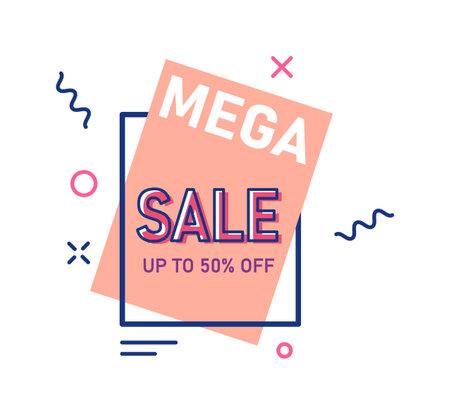 Mega sale up to 50 percent price off sticker template 向量圖像
