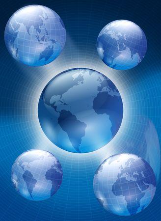 Illustration of globes  Banco de Imagens