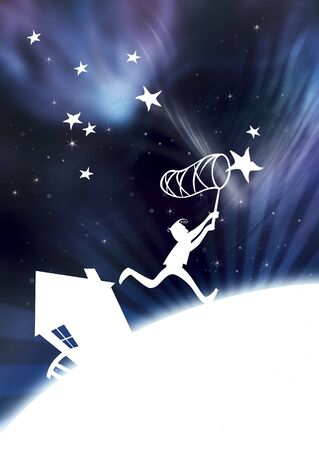 Illustration of a kid catching stars
