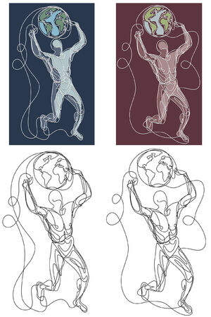 An stylised sketch of an athlete lifting the earth. The illustration is in vector. Ilustração
