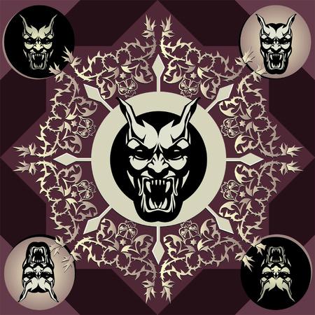 weerzinwekkend: Stock Vector Illustratie van een monster  vampier met een gothic achtergrond.