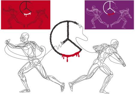 adversaire: Vector illustration de deux hommes qui sont en concurrence se briser le symbole de la paix. Illustration