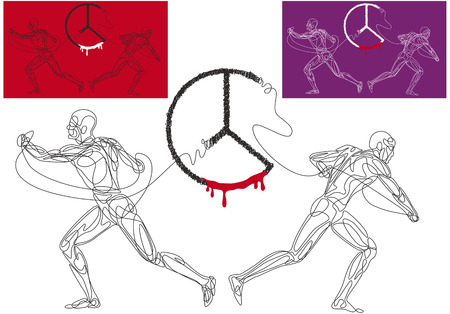 Vector illustration of two competing men who are breaking appart the symbol of peace.