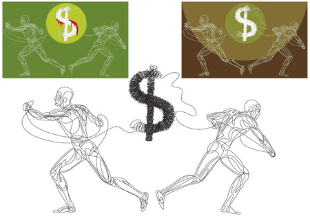Line silhouettes of a two men ripping appart the dollar symbol.