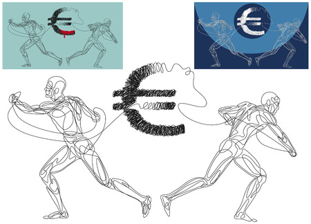 Line silhouettes of a two men ripping appart the Euro symbol.  Ilustração