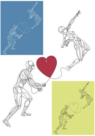 Line silhouettes of a man tied to a woman with a heart. Drawing consist of one continuous line that connects both silhouettes. Ilustração