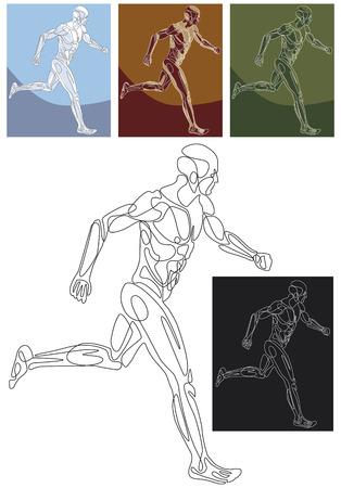 Line silhouette  illustration of a running athlete. Ilustração