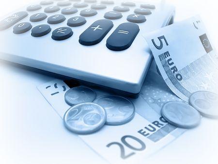 scrutiny: Euro banknotes and coins calculating Stock Photo