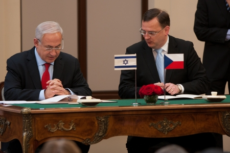 Prague, Czech Republic - 17.5.2012 - Prime Minister Petr Necas schedules charter with prime minister of Israel Benjamin Netanjahu Editorial