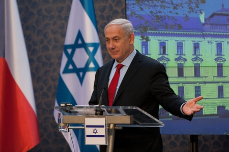 Prague, Czech Republic - 17.5.2012 - Prime minister of Israel Benjamin Netanjahu speaks in czech goverment office