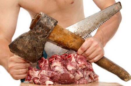 ax: meat cutting ax and saw