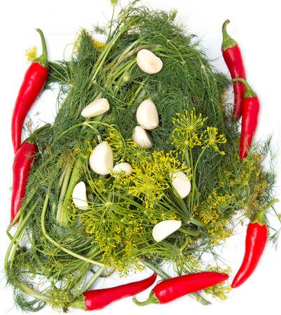 chiles picantes: ajo, chiles, eneldo en blanco