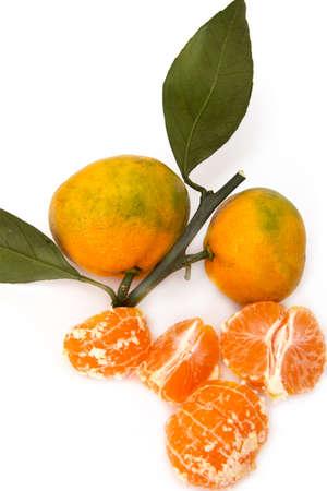orange peel clove: ripe mandarrin on a white background Stock Photo