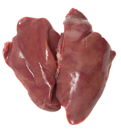 fresh chicken liver on a white background photo