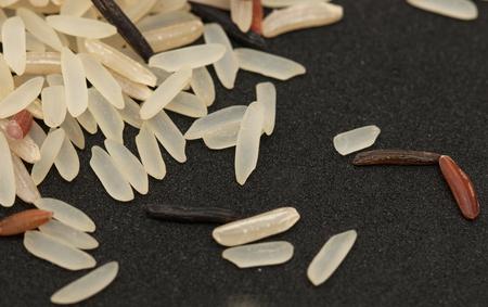 rice grain on black background photo