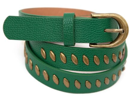 inserts: Female green belt with metal inserts Stock Photo