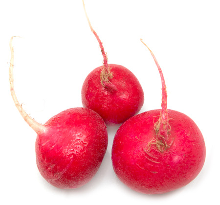 red skinned: radishes on a white background