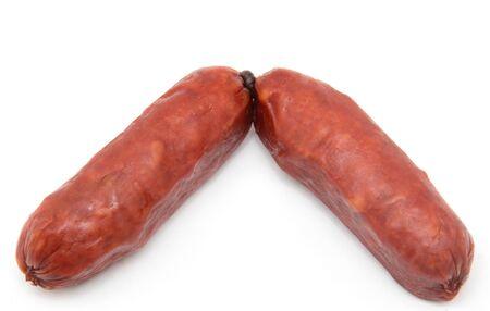 smoked sausage: smoked sausage on a white background Stock Photo