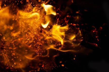 Fire flames on a black background Banco de Imagens