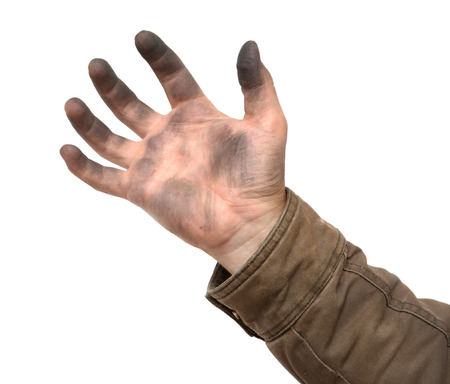 dirty mans hand on a white background