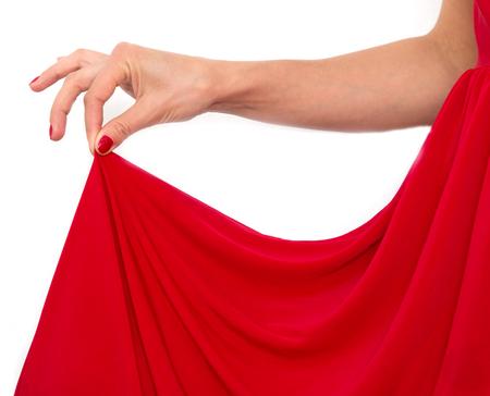 silhouette femme: robe rouge sur la figure féminine