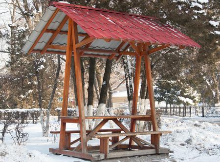 gazebo: wooden gazebo in the park