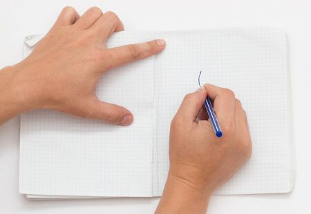hand pen: hand pen writing on paper