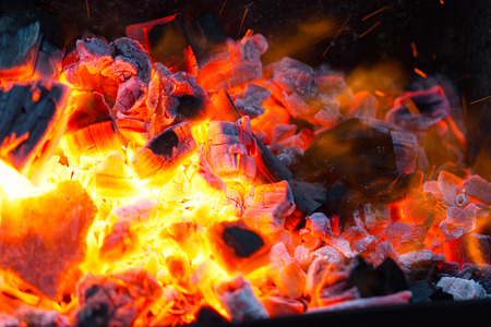 smolder: live coals Stock Photo