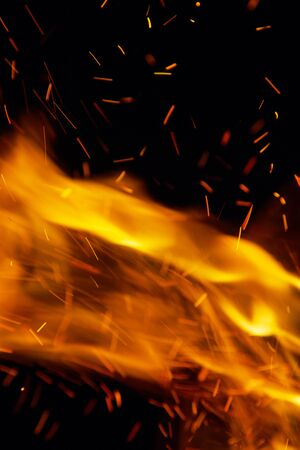 abstract fire: fire on a black background