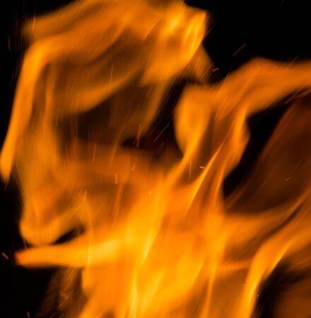 ablaze: Fire flames on a black background Stock Photo