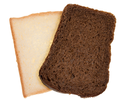 piece black and white bread on a white background
