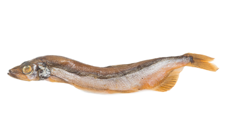 Smoked fish capelin on a white background Stock Photo