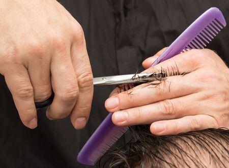 haircut: womens haircut Stock Photo