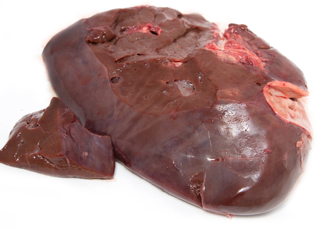fresh beef liver on a white background Imagens