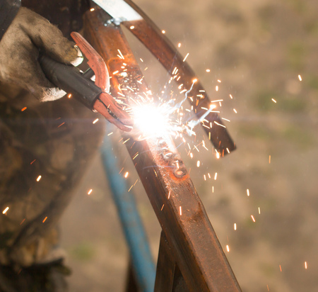 sparks from welding work
