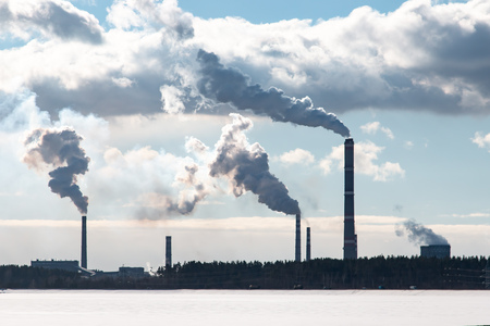 smoke from factory chimneys Standard-Bild - 119029793