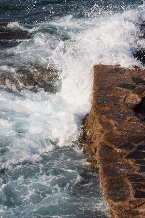 sea wave beats on the rocks