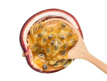 fruit passion fruit with pulp on a white background Foto de archivo