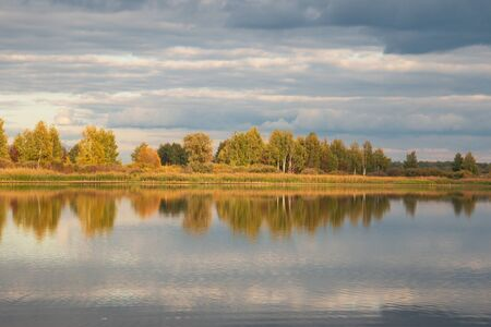 autumn landscape with trees with reflection