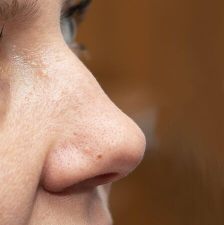 womans nose with clean fair skin Stok Fotoğraf