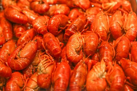 boiled red crayfish as background
