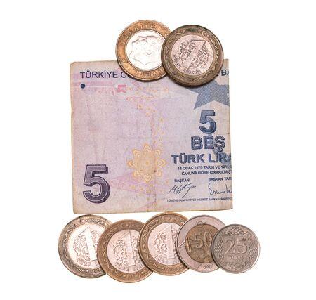 Turkish money lira on a white background