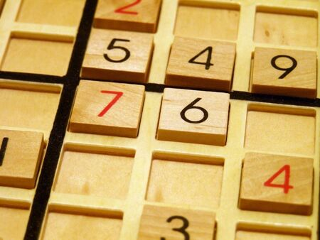Wood sudoku board and tiles. Banco de Imagens - 538409