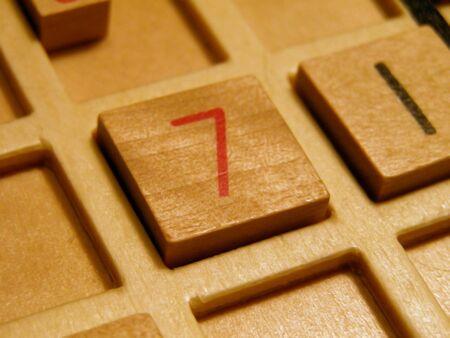 Wood sudoku board and tiles. Banco de Imagens