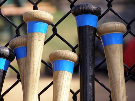 Baseball bats leaning against a batting cage fence. Stock Photo - 654615