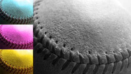 Detail close up of baseball seams geared towards designers working on projects dealing with CMYK, 4-color printing and reproductions.