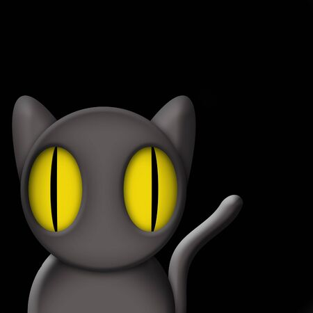 graphically: Original illustration of black cat at night with room for designer to drop in text or customize surrounding scene graphically.