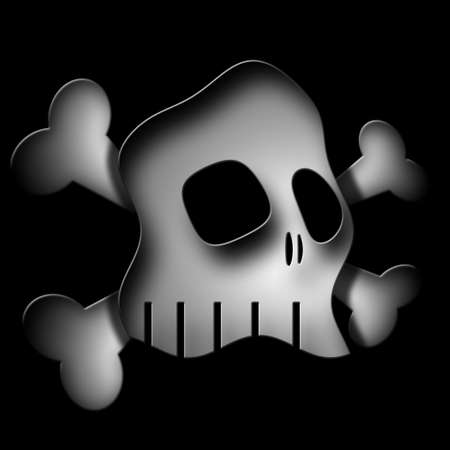Original illustration of skull and crossbones on black background. Banco de Imagens
