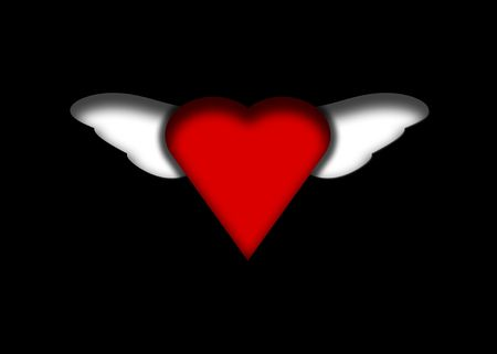 Original illustration of red winged heart on black background.